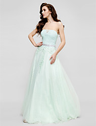 A-Line Princess Strapless Floor Length Lace Tulle Prom Formal Evening Dress with Beading Appliques Lace by TS Couture®