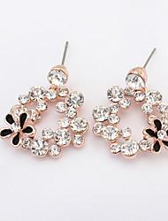Fashion Wild Fresh Alloy / Rhinestone Flower Drop Earrings