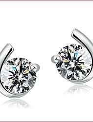 2016 Korean Unisex 925 Silver Sterling Silver Jewelry Earrings Moon Stud Earrings 1Pair