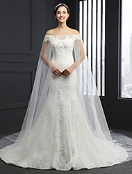 Sheath/Column Wedding Dress-Chapel Train Strapless Lace