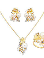 Women's European Elegant Fashion Flower Pearl Shiny Rhinestone Necklace Earrings Ring Set Bridal Set