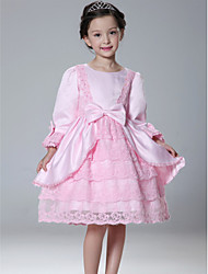 Princess Knee-length Flower Girl Dress - Lace/Satin Long Sleeve