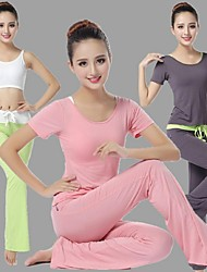 Yoga Suit Sports Causal Running Clothing Fitness Clothes Yoga Wear Gear Suits = Vest + Short Sleeve Top + Long Trousers