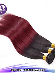Menschenhaar spinnt Peruanisches Haar Gerade 6 Monate 4 Stück Haar webt