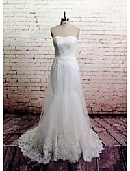 Sheath / Column Wedding Dress Chapel Train Strapless Lace / Tulle with Appliques