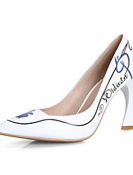 Women's Shoes Cowhide Stiletto Heel Heels / Pointed Toe Heels Outdoor / Office & Career / Casual Black / White