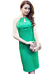 Women's Simple Solid Sheath Dress,Halter Knee-length Polyester