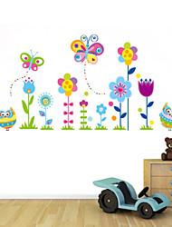 stickers muraux stickers muraux de style, le hibou et les papillons dans les fleurs pvc stickers muraux