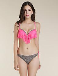 Bikinis Aux femmes Franges Sans Armature Bandeau Nylon / Polyester
