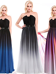Cocktail Party Dress - Silver / Multi-color / Ocean Blue Ball Gown Notched Floor-length Chiffon / Charmeuse