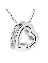 El cristal de Austria collar de doble corazón colgante, joyería fina