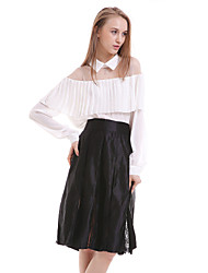 Women's Casual/Daily Simple Blouse,Solid Shirt Collar Long Sleeve White / Black Silk Translucent
