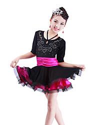 Latin Dance Dresses Children's Performance Spandex Crystals/Rhinestones 1 Piece Fuchsia / Purple / Royal Blue