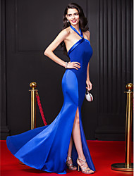 TS Couture® Formal Evening Dress Sheath / Column Halter Floor-length Chiffon / Stretch Satin