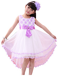 Girl's Flower Tulle Long Tail Party Pageant Bridesmaid Wedding Kids Clothing Dresses