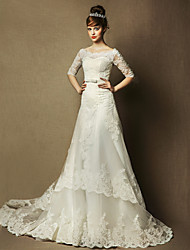 A-line Wedding Dress Court Train Bateau Tulle with Beading / Bow / Lace