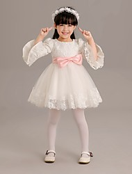 A-line Short / Mini Flower Girl Dress - Lace / Tulle 3/4 Length Sleeve Jewel with