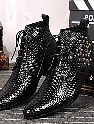 Men's Shoes Amir 2016 Pure Manual Limited Snake Lines Wedding / Office / Party Cowhide Leather  Fashion Boots Black