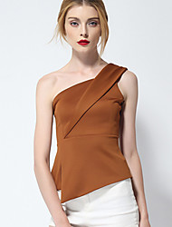 Women's Solid Pink / White / Brown / Yellow Blouse,One Shoulder Sleeveless