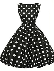 Women's Fashion Elegant Retro Polka Dot Sleeveless Dress