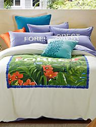 Best Sell Forest Bedding Vivid Plants Duvet Cover Set Reactive Printing Comforter Cotton Linen Full Queen