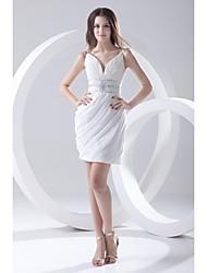 Vestido de Dama de Honor - Funda/Columna Tirantes Spaghetti - Corta/Mini Raso