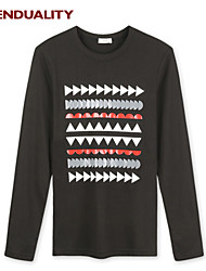 Trenduality® Hombre Escote Redondo Manga Larga Camiseta Negro - 43266