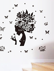 New Wayzon Pretty Butterfly Flower Fairy Girl Removable PVC Wall Sticker Home Decor Decals