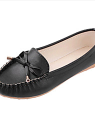 Women's Shoes Leatherette Spring / Fall Comfort Flats Outdoor / Casual Flat Heel Bowknot Black / White