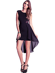 Women's Sexy Solid Swing Dress , Round Neck Asymmetrical Cotton / Polyester