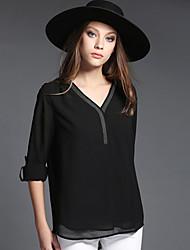Damen Solide Einfach Lässig/Alltäglich T-shirt,V-Ausschnitt Alle Saisons ½ Länge Ärmel Schwarz Polyester Dünn