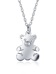 925 Sterling Silver Jewelry Necklace Pendant Bear-shaped Jewelry Female Clavicle Chain Perfect Gift for Girls