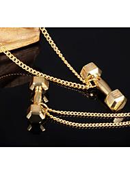 Dumbbell 18K Gold Titanium Steel Necklaces
