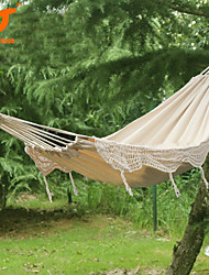 SWIFT Outdoor® New 100% Cotton Thickening Canvas outdoor 2 Person Portable Tassel Hammock White Fringe Hammock