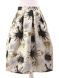Women's Print Gold Skirts,Simple Knee-length