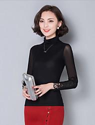 Women's Solid Black Blouse , Turtleneck Long Sleeve