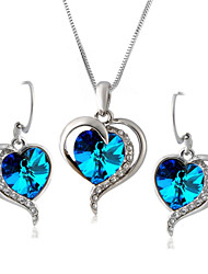 HKTC the Heart of Ocean Blue Austrian Crystal Necklace and Earrings Jewelry Set for Lover