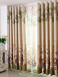 Two Panels Animal Blackout Printing Four Color Curtain