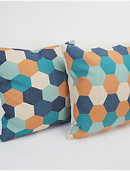 Colourful Geometric Printed Pillow Case Fashion Home Decorative Linen Cotton Blended Crown Throw Square  45cmx45cm