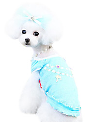 Dog Shirt / T-Shirt / Clothes/Clothing Blue / Pink Spring/Fall Bowknot / Cartoon Fashion