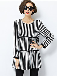 Women's Casual/Daily Simple Spring Blouse,Striped Round Neck Long Sleeve Black Cotton / Polyester Medium