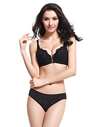 Meiqing® Basic Bras & Panties Sets Nylon Black - M12S1005