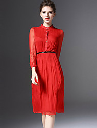 Women's Simple A Line / Chiffon Dress,Solid Shirt Collar Above Knee Long Sleeve Blue / Red Rayon Spring