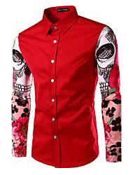 Camisa De los hombres Casual Estampado-Algodón / Poliéster-Manga Larga