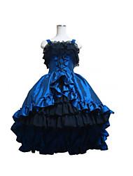 Top venda lolita gótico caudas partido vestido azul Cosplay