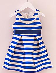 Girl's Blue Dress,Stripes / Dresswear Polyester Summer