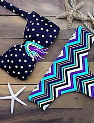 Women's Bandeau Bikinis , Dot Padded Bras Nylon / Spandex Blue