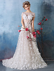 Formal Evening Dress A-line Jewel Court Train Lace / Tulle with Beading / Flower(s) / Lace / Sash / Ribbon