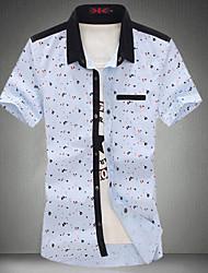Men's Print Casual Shirt,Cotton Short Sleeve Blue / Red / White