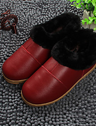 Women's Shoes Leather Flat Heel Slippers Slippers Casual Brown / Red
